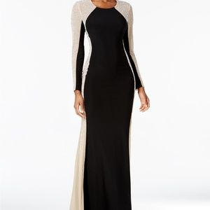 XSCAPE Embellished Longsleeve Black & Gold Dress